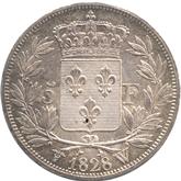 フランス ルイ18世 5フラン銀貨[Tone UNC]【裏面】