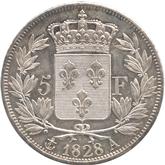 フランス ルイ18世 5フラン銀貨[UNC+]【裏面】