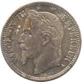 フランス ナポレオン3世 1フラン銀貨[Tone FDC]