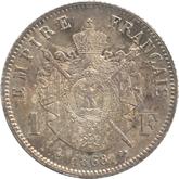 フランス ナポレオン3世 1フラン銀貨[Tone FDC]【裏面】