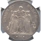 フランス ヘラクレス 5フラン銀貨[UNC+]