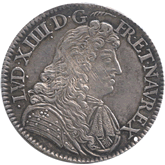 フランス ルイ14世 エキュー銀貨[EF]