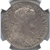 フランス ルイ15世 エキュー銀貨[Toned AU/UNC]