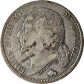 【影打ち】フランス ルイ18世 1フラン銀貨[F]