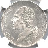 フランス ルイ18世 5フラン銀貨[UNC]
