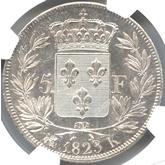 フランス ルイ18世 5フラン銀貨[UNC]【裏面】