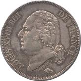 フランス ルイ18世 5フラン銀貨  ノアの方舟[Toned EF+]