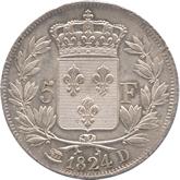 フランス ルイ18世 5フラン銀貨  ノアの方舟[Toned EF+]【裏面】