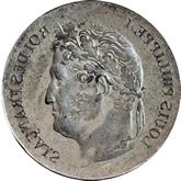 【影打ち】フランス ルイ・フィリップ1世 2フラン銀貨(希少品)[F+]【裏面】