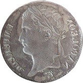 【影打ち】フランス ナポレオン1世 5フラン銀貨[EF]【裏面】