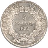 フランス ルイ・ナポレオン 5フラン銀貨[UNC]【裏面】
