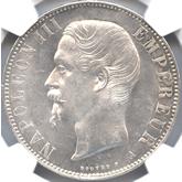 フランス ナポレオン3世 5フラン銀貨[UNC+]