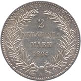 ドイツ領ニューギニア 極楽鳥 2マルク銀貨[Tone EF]【裏面】