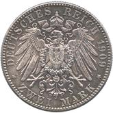 ドイツ ザクセン 2マルク銀貨  ライプツィヒ大学創設500年記念[UNC]【裏面】