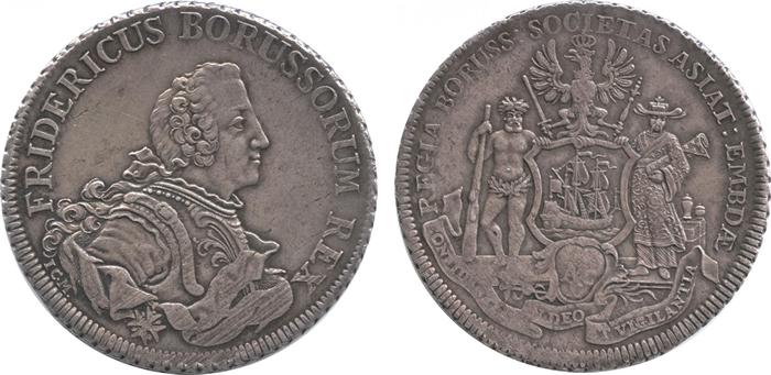 ドイツ プロイセン 1ピアストル銀貨 フリードリヒ2世[Tone EF+]【表裏】