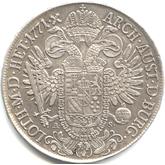 神聖ローマ帝国 ヨーゼフ2世 1ターレル銀貨[VF+]【裏面】