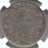 英領インド ヴィクトリア  1ルピー銀貨[Tone PF FDC]【裏面】