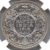 英領インド ジョージ5世 1ルピー銀貨[PF UNC]【裏面】