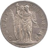 イタリア スバルピネ共和国 5フラン銀貨[EF]