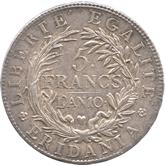 イタリア スバルピネ共和国 5フラン銀貨[EF]【裏面】