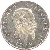 イタリア王国 ヴィットリオ・エマヌエル2世 5リレ銀貨[EF+]