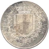 イタリア王国 ヴィットリオ・エマヌエル2世 5リレ銀貨[EF+]【裏面】