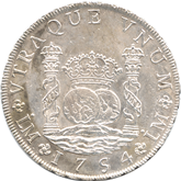 ペルー フェルナンド6世 8レアル銀貨[EF+]