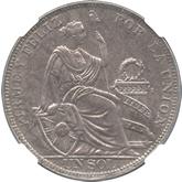 ペルー 女神座像 1ソル銀貨[UNC]