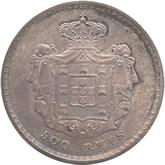 ポルトガル ペドロ5世 500レイス銀貨[Toned UNC]【裏面】