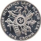 マン島 レークプラシッドオリンピック記念1クラウン銀貨【裏面】