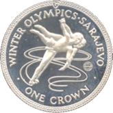 マン島 サラエボオリンピック記念1クラウン銀貨【裏面】