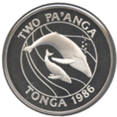 トンガ 2パアンガ銀貨 ザトウクジラ