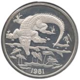 ジャマイカ 10ドル銀貨 アメリカワニ