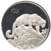 イギリス領  ヴァージン諸島 25ドル銀貨 ユキヒョウ
