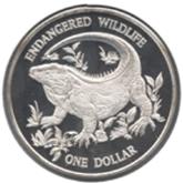 ケイマン諸島 1ドル銀貨 ブルーイグアナ