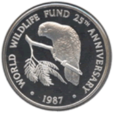 ケイマン諸島 5ドル銀貨 サクラボウシインコ
