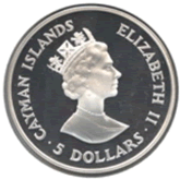 ケイマン諸島 5ドル銀貨 サクラボウシインコ【裏面】