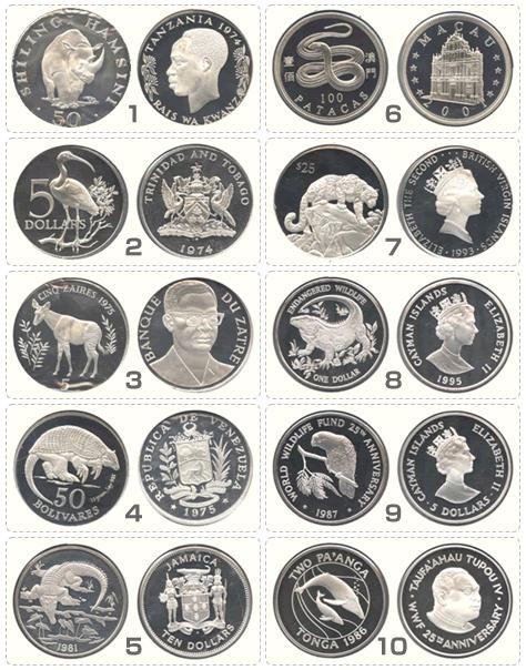 動物コイン(銀貨)10枚セット