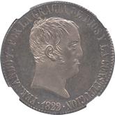 スペイン フェルナンド7世 20レアル銀貨[PL AU/UNC]