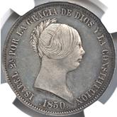スペイン 20レアル銀貨 イサベル2世[PF UNC]