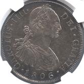 グアテマラ カルロス4世 8レアル銀貨[AU]