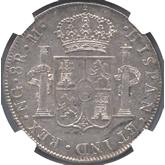 グアテマラ カルロス4世 8レアル銀貨[AU]【裏面】