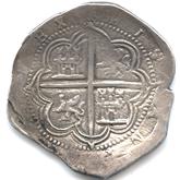 スペイン フェリペ2世 8レアル銀貨[EF+]【裏面】