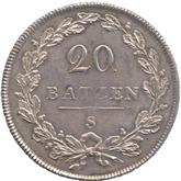 スイス ヘルベティア共和国 20バッツェン銀貨[EF+]【裏面】