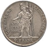 スイス アールガウ 4フラン銀貨[EF]