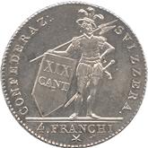 スイス ティッシーノ 4フランキ銀貨[UNC]
