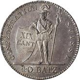 スイス ヴァウド 40バッツェン銀貨[Toned UNC]