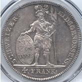 スイス アールガウ 4フランケン銀貨[Toned EF+]