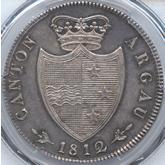 スイス アールガウ 4フランケン銀貨[Toned EF+]【裏面】