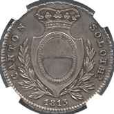 スイス ソロッツルン 4フランケン銀貨[EF+]【裏面】